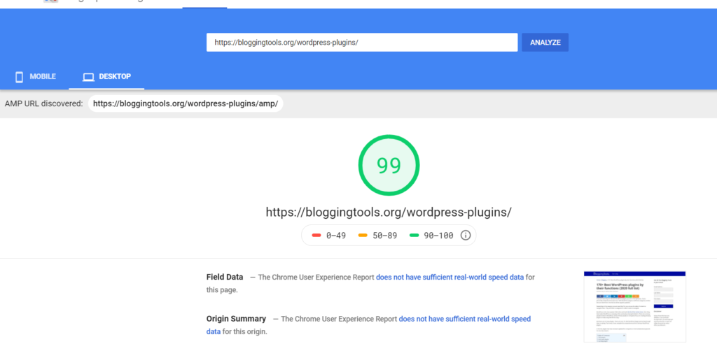 Cloudways BloggingTools PageSpeed insight desktop