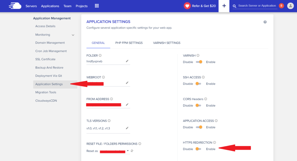 Cloudways force HTTPS redirection
