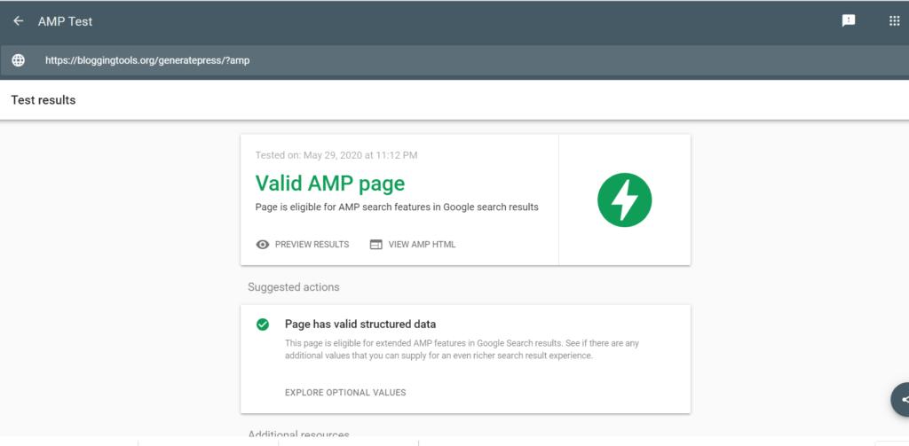 GeneratePress AMP test