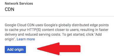 Add origin to Google Cloud CDN