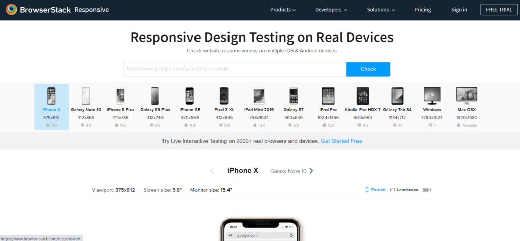 BrowserStackResponsive Design Testing on Real Devices