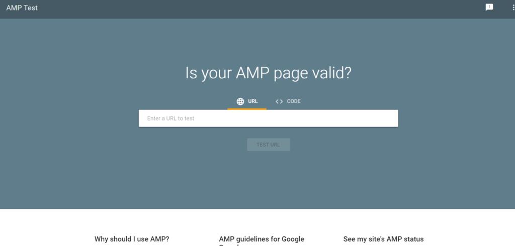 Google AMP Testing tool