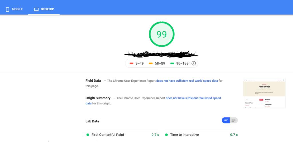 Templ PageSpeed insight Desktop