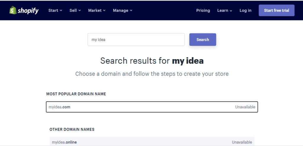 Shopify domain name generator